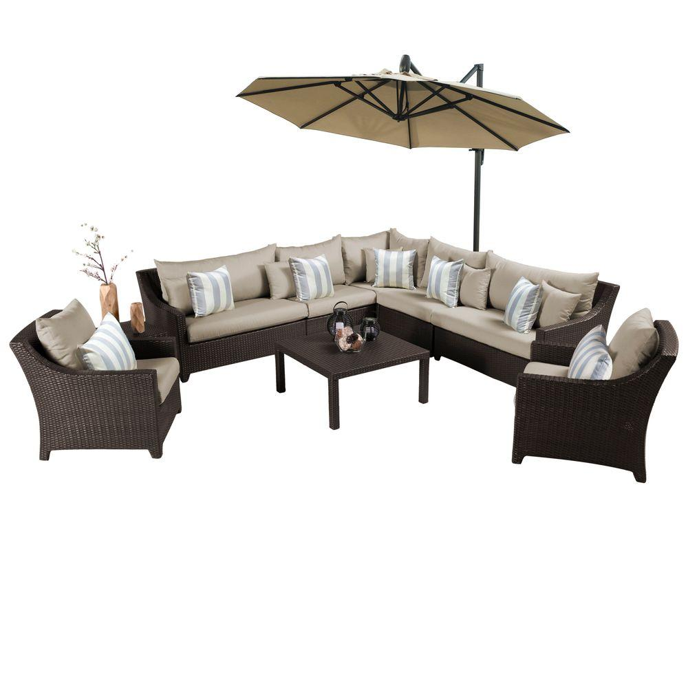 Awesome Rst Brands Deco 9 Piece All Weather Wicker Patio Sectional Set With 10 Ft Umbrella And Slate Grey Cushions Inzonedesignstudio Interior Chair Design Inzonedesignstudiocom
