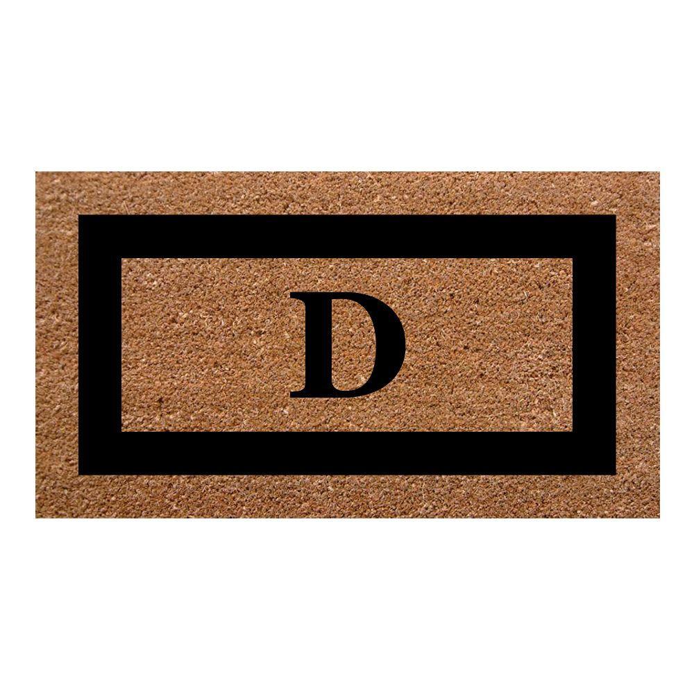 Nedia Home Single Picture Frame Black 20 in. x 36 in. SuperScraper Monogrammed D Door Mat
