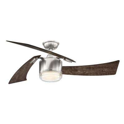 Merille 52 in. LED Brushed Nickel Ceiling Fan with Remote Control