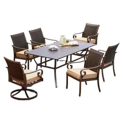 Milano 7-Piece Metal Outdoor Dining Set with Tan Cushions