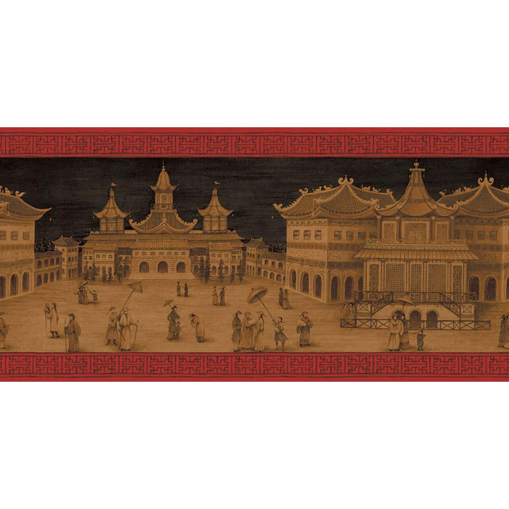 The Wallpaper Company 10 in. x 8 in. Lacquer Red and Gold Emperor's Palace Border Sample