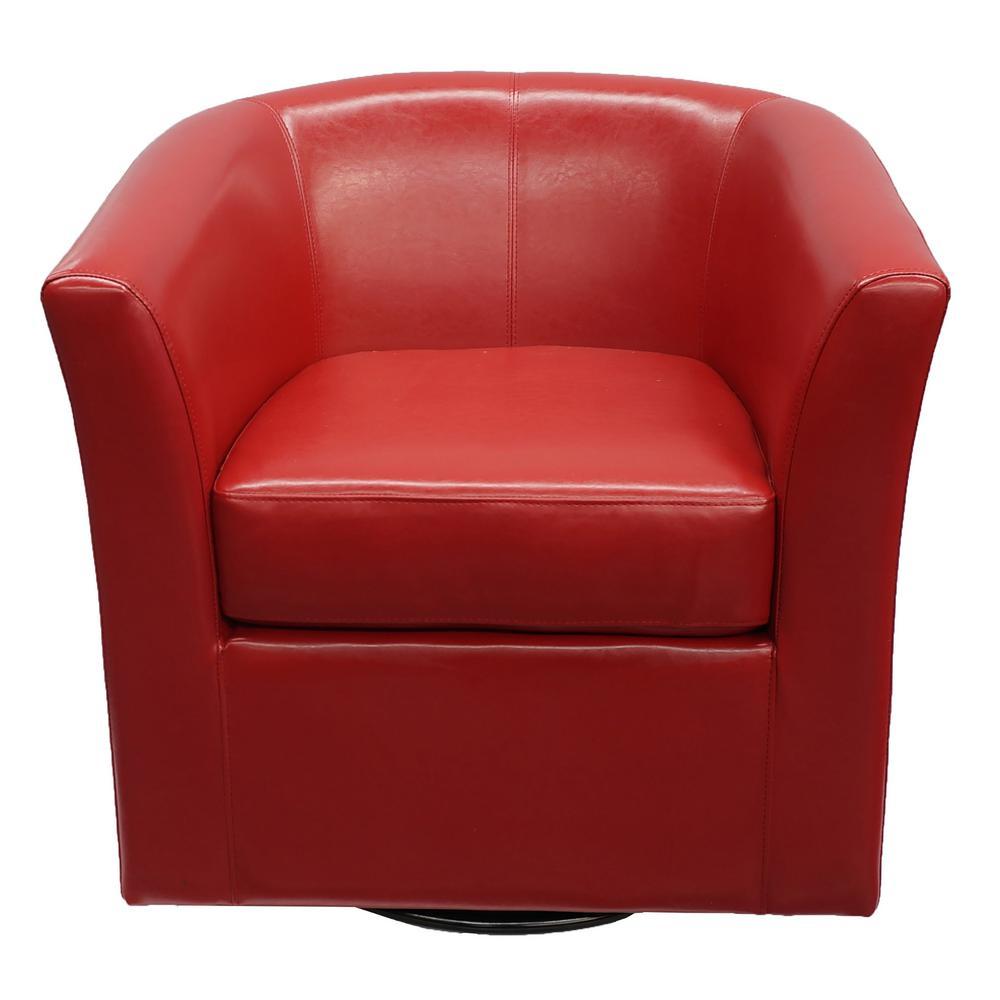 Daymian Red PU Swivel Club Chair