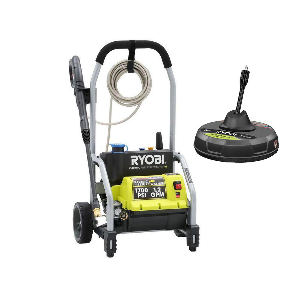 RYOBI 1,700-PSI 1.2-GPM Electric Pressure Washer with 12 in. Surface Cleaner
