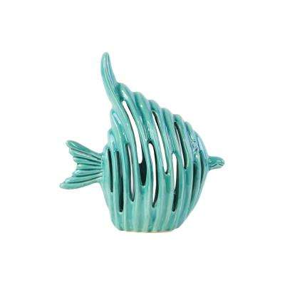 10.25 in. H Fish Decorative Figurine in Turquoise Gloss Finish