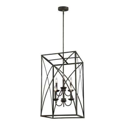 Greenbrier 17 in. W. 6-Light Iron Oxide Chandelier