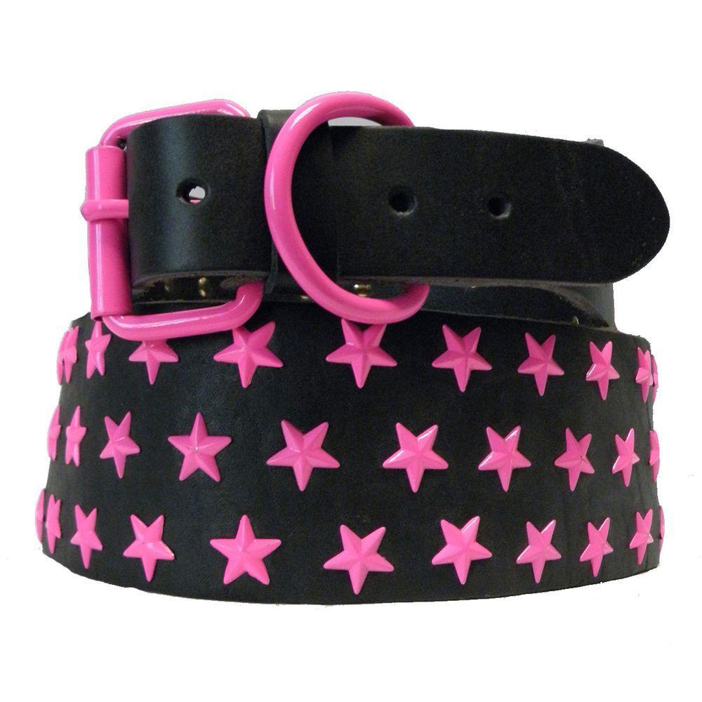 Platinum Pets 31 in. Black Genuine Leather Dog Collar in Pink Stars