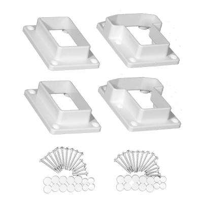 Riviera White Straight Railing Bracket Kit (4-Piece)