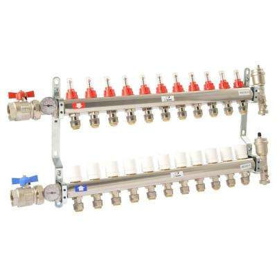 1 in. NPT Inlet x 1/2 in. Stainless Steel Push-Fit 11-Outlet Radiant Heating Manifold