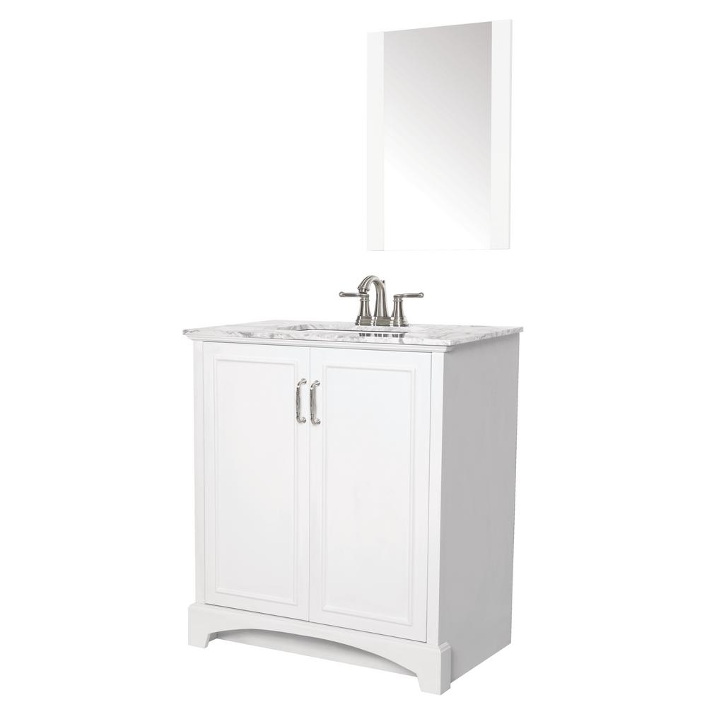 Sheffield Home Madison 30 in. W x 19 in. D Bath Vanity in White with Engineered Stone Vanity Top in Gray with White Basin and Mirror