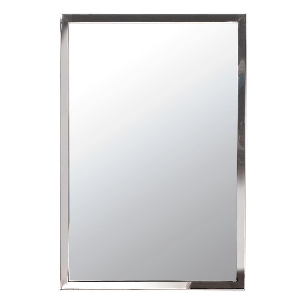 Medium Rectangle Polished Nickel Modern Mirror (30 in. H x 24 in. W)