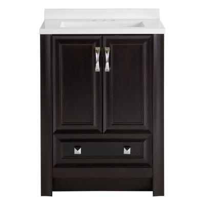 Candlesby 24 in. W x 19 in. D Bathroom Vanity in Charcoal with Cultured Marble Vanity Top in White