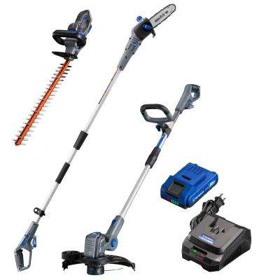 20-Volt Cordless String Trimmer/Edger, Hedge Trimmer and Pole Saw Combo Kit (3-Tool) 2 Ah Battery and Charger Included