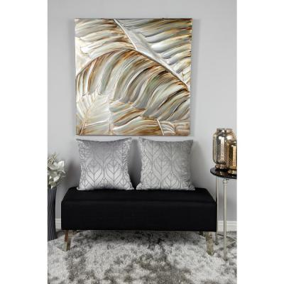 Silver and Bronze 3D Metallic Leaves Framed Canvas Wall Art