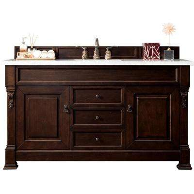 Brookfield 60 in. W Single Bath Vanity in Burnished Mahogany Finish w/ Classic White Quartz Vanity Top with White Basin