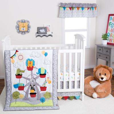Jungle Ferris Wheel 3-Piece Crib Bedding Set