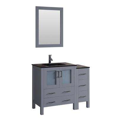42 in. W Single Bath Vanity with Tempered Glass Vanity Top in Black with Black Basin and Mirror