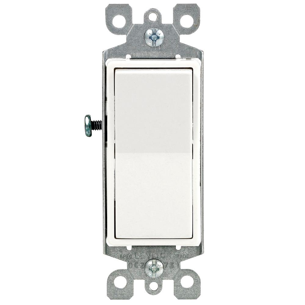 Leviton Decora 15 Amp Single-Pole AC Quiet Switch, White