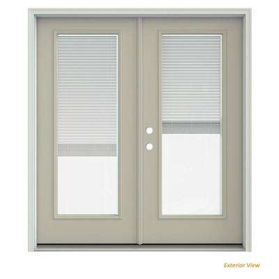 72 in. x 80 in. Desert Sand Painted Steel Right-Hand Inswing Full Lite Glass Stationary/Active Patio Door w/Blinds