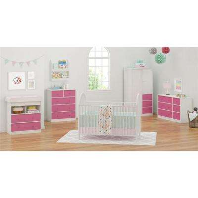 Applegate Storage Chest With 5 Pink Fabric Bins In Enchanted Pine