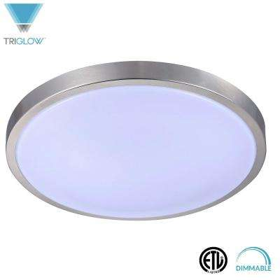 100-Watt Equivalent Brushed Nickel Soft White 16 in. Dimmable Round Integrated LED Flush Mount Fixture