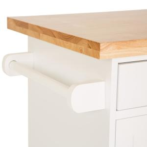 Glitzhome 34.49 in. H Rubber Wooden Kitchen Island Rolling ...