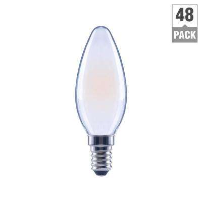 60-Watt Equivalent B11 Candle Dimmable Frosted Glass Filament Vintage Edison LED Light Bulb Soft White (48-Pack)