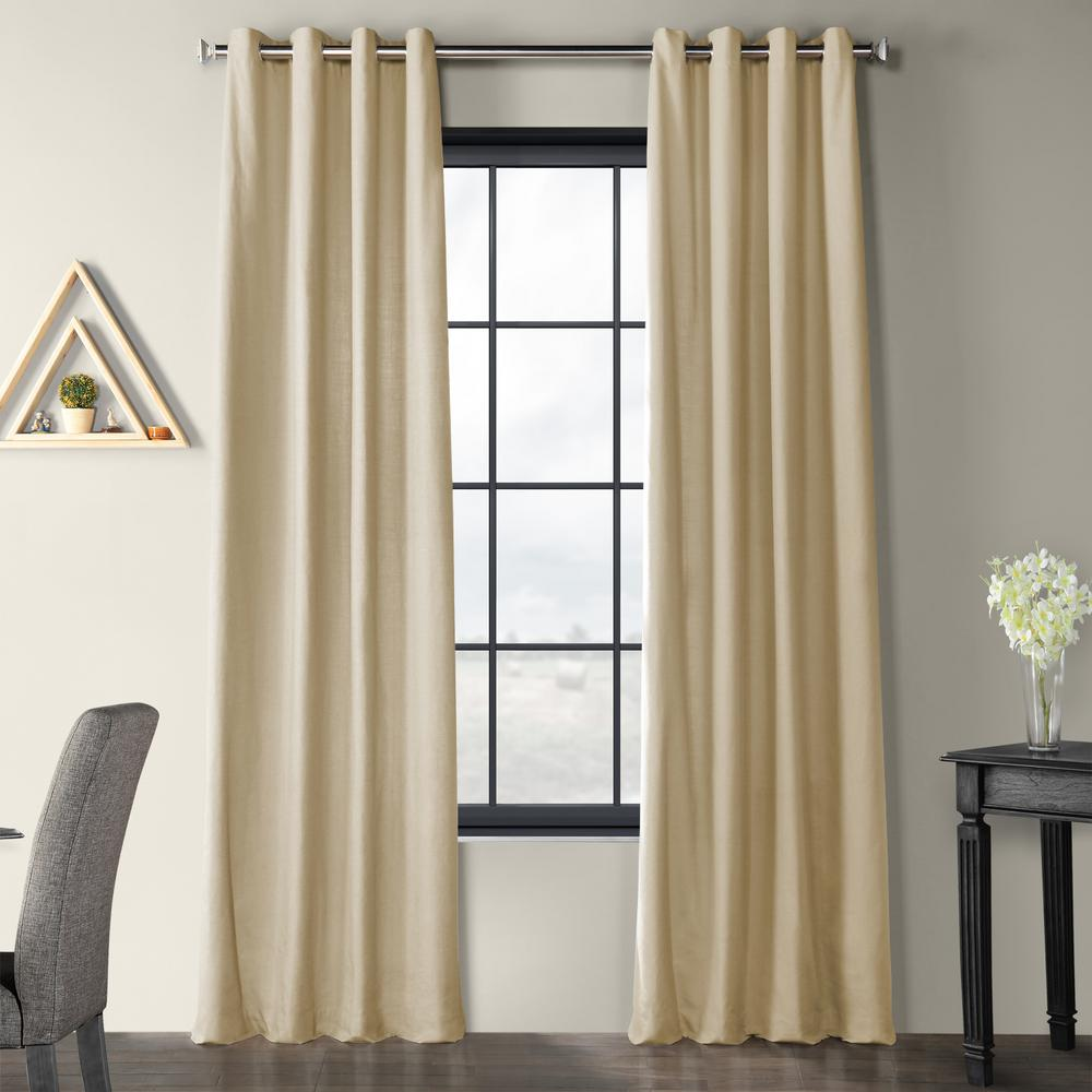 Exclusive Fabrics & Furnishings Kilim Beige Solid Country Cotton Linen Weave Grommet Curtain - 50 in. W x 96 in. L
