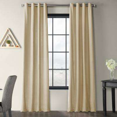 Kilim Beige Solid Country Cotton Linen Weave Grommet Curtain - 50 in. W x 96 in. L