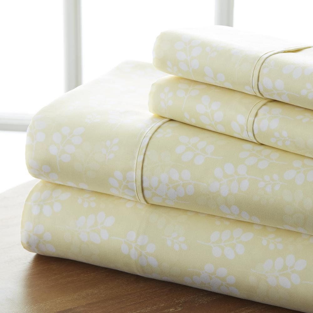 4-Piece Ivory Floral Microfiber Queen Sheet Set