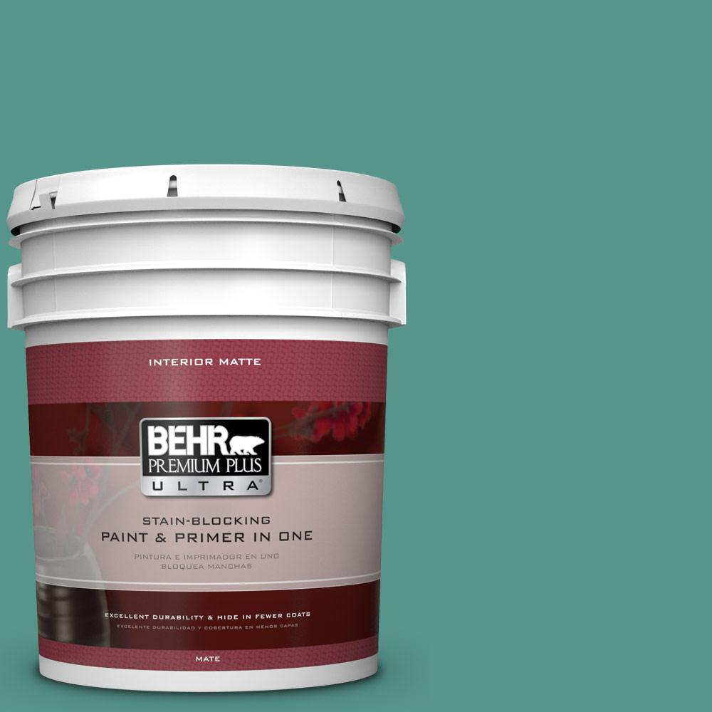 5 gal. #490D-6 Thermal Spring Matte Interior Paint and Primer in