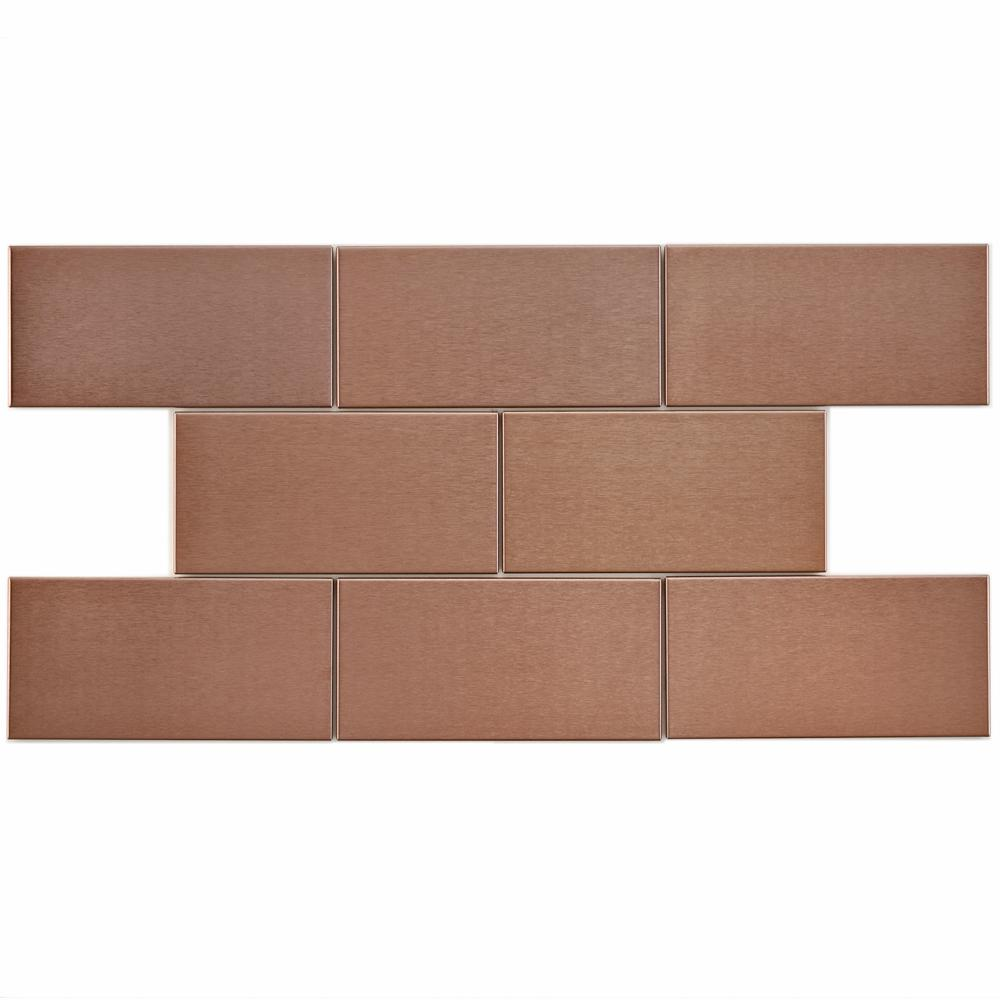 Merola Tile Alloy Subway Copper 3 In X 6 Stainless Steel Over Porcelain