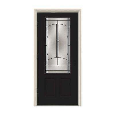 36 in. x 80 in. 3/4 Lite Idlewild Black Painted Steel Prehung Right-Hand Outswing Front Door w/Brickmould