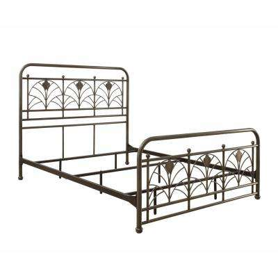 Avery Antique Pewter Queen Size Metal Bed