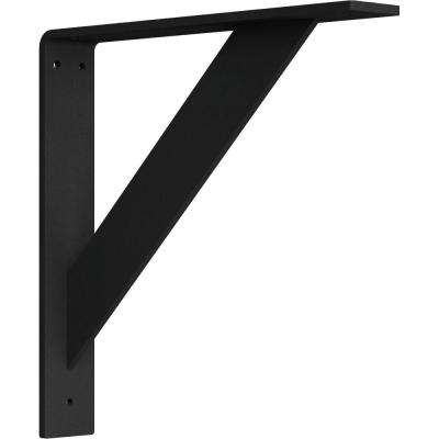 2 in. x 12 in. x 12 in. Steel Hammered Black Traditional Bracket