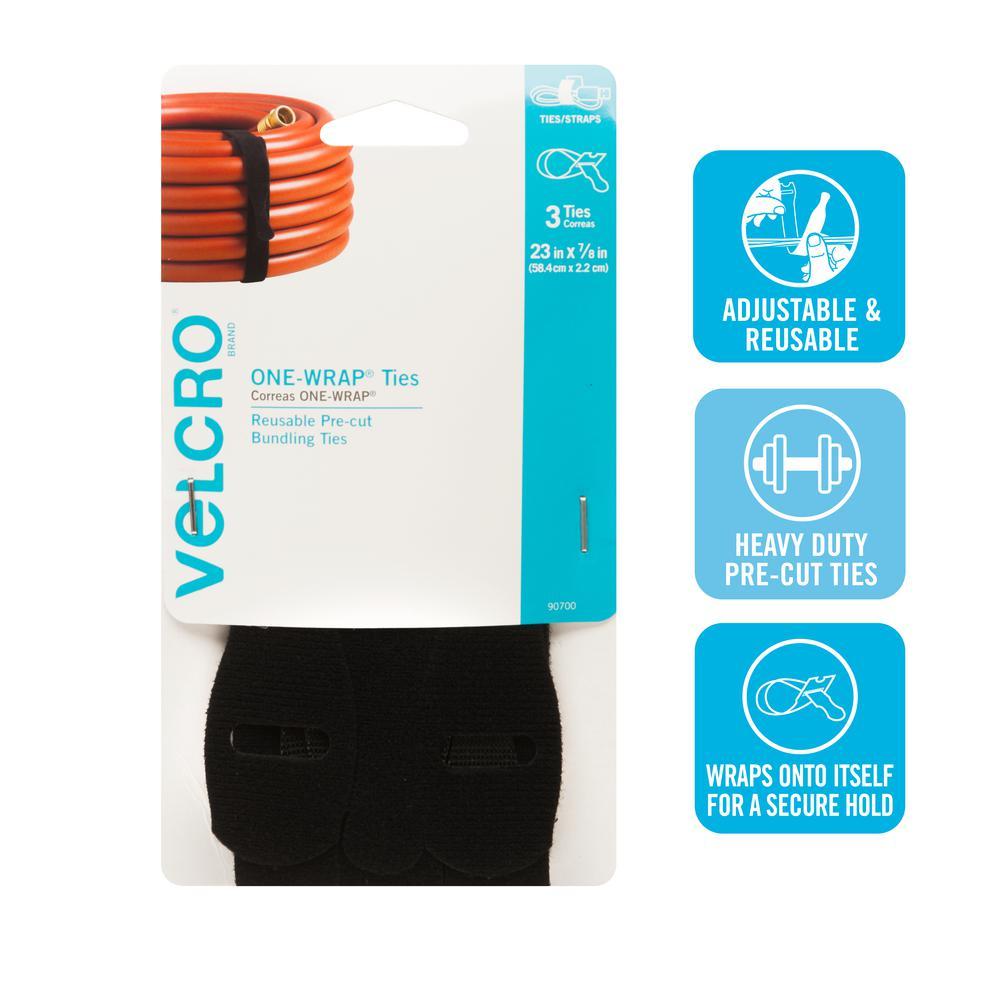 VELCRO Brand 23 in. x 7/8 in. 1-Wrap Straps (3-Pack)