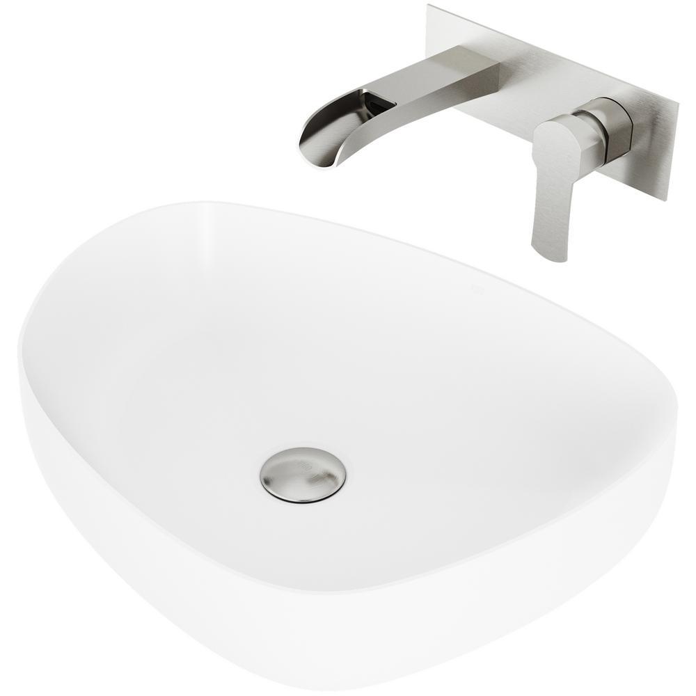 Peony Matte Stone Vessel Bathroom Sink Set with Cornelius Wall Mount Bathroom Faucet in Brushed Nickel