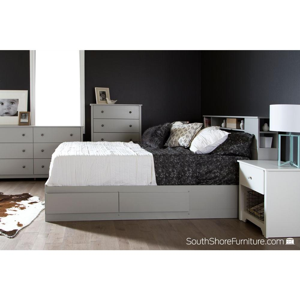 South S Vito 2 Drawer Soft Gray Queen Size Storage Bed