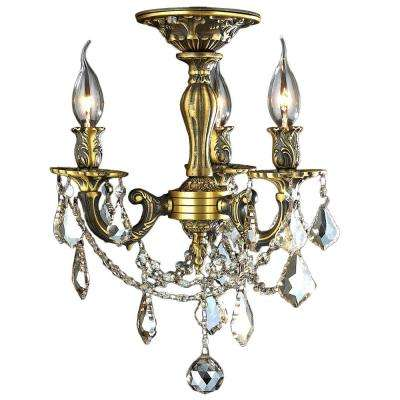 Windsor Collection 3-Light Antique Bronze and French Pendalogue Golden Teak Crystal Semi Flush Mount