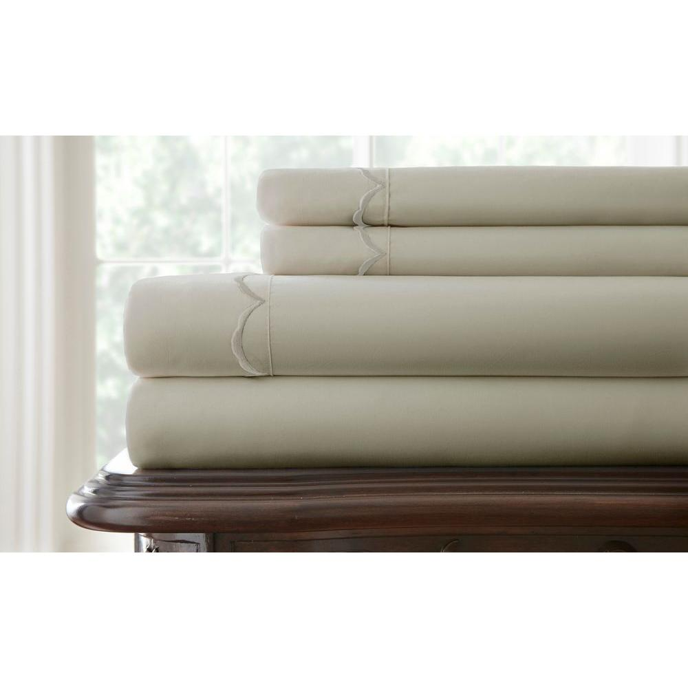 Pacific Coast Textiles Easy Care Scallop Embroidered Taupe Hem King Sheet Set (4-Piece)