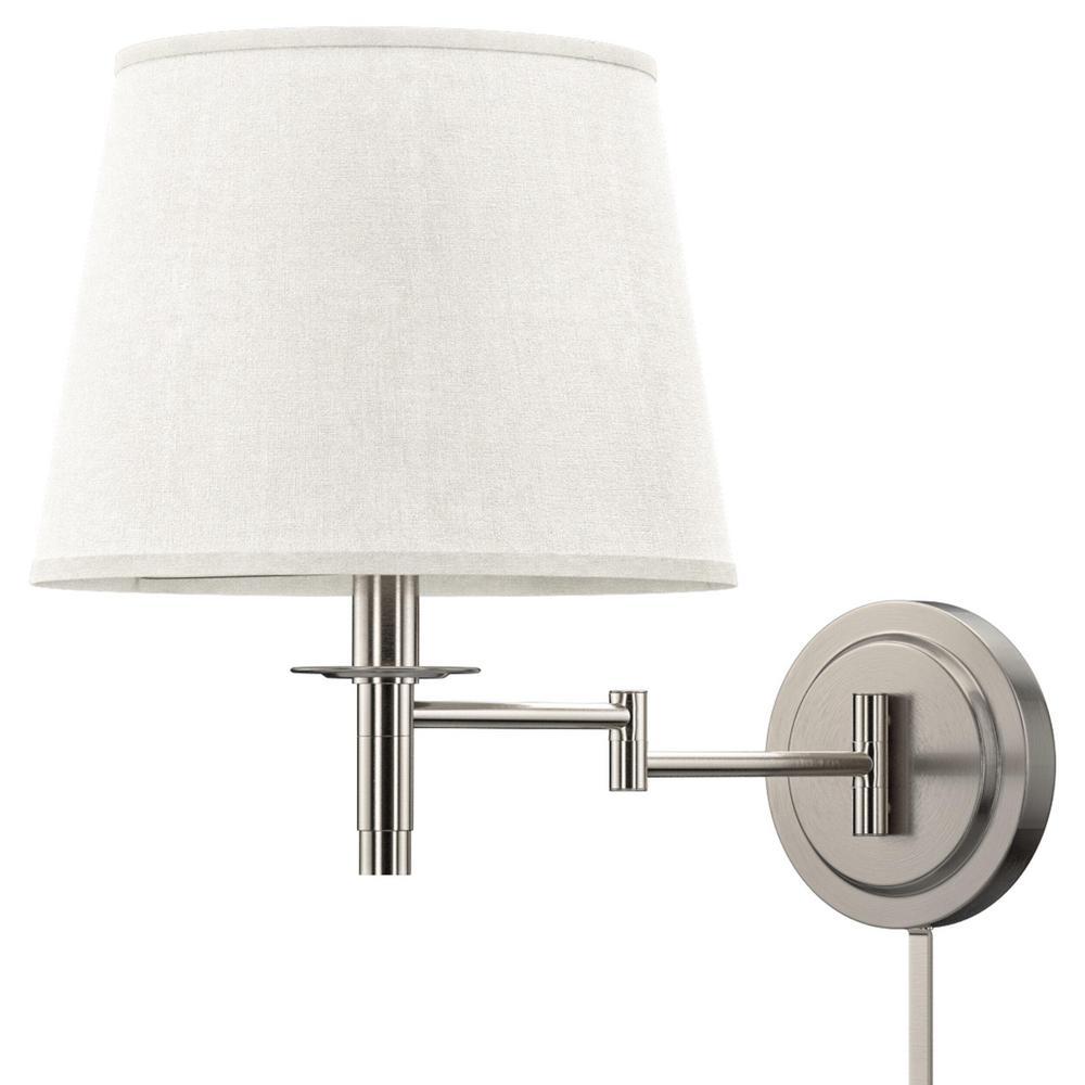 Light Brushed Steel Wall Swing Arm Lamp