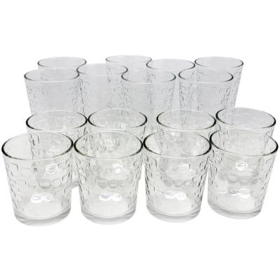 Great Foundations Tumbler and Double Old-Fashioned Glass Set in Square Pattern (16-Pack)