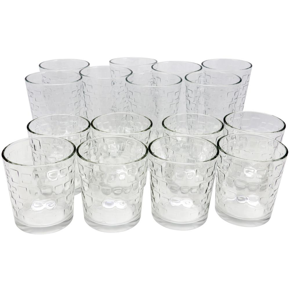Great Foundations Tumbler and Double Old-Fashioned Glass Set in Square Pattern