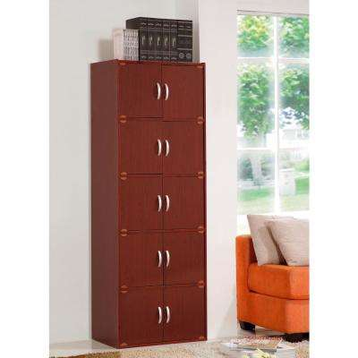 5-Shelf, 67 in. H Mahogany Bookcase with Double Doors