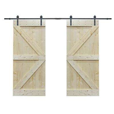72 in. x 84 in. Unfinished Solid Core Knotty Pine Barn Door with Sliding Door Hardware Kit