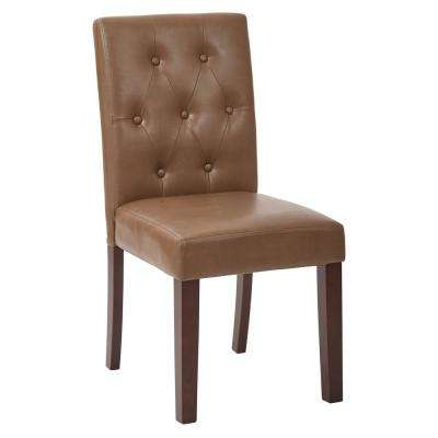 7 Button Dining Chair with Espresso Legs and Molasses Deluxe Bonded Leather