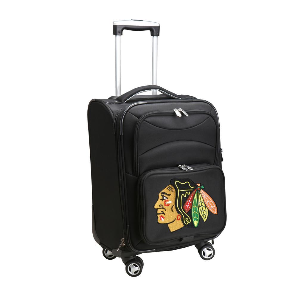 Denco Nhl Chicago Blackhawks 21 In Black Carry On Spinner Softside Suitcase