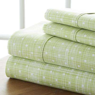 Polka Dot Patterned 4-Piece Moss Queen Performance Bed Sheet Set