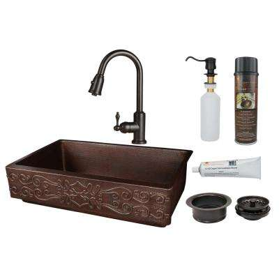 All-in-One Farmhouse Apron Front Copper 35 in. Single Bowl Retrofit Kitchen Scroll Sink with Faucet in Oil Rubbed Bronze