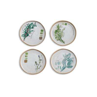 Farm to Table 4-Piece White Appetizer Plates with Herbs