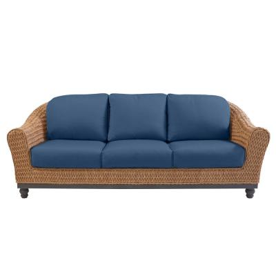 Camden Light Brown Seagrass Wicker Outdoor Patio Sofa with CushionGuard Sky Blue Cushions